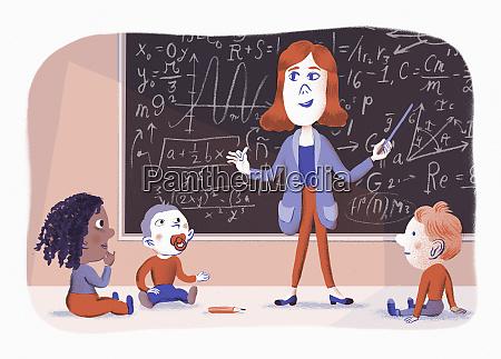 teacher teaching toddlers complex mathematics