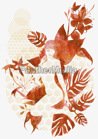 nude woman with leaf design