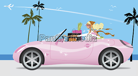 woman with shopping driving pink convertible