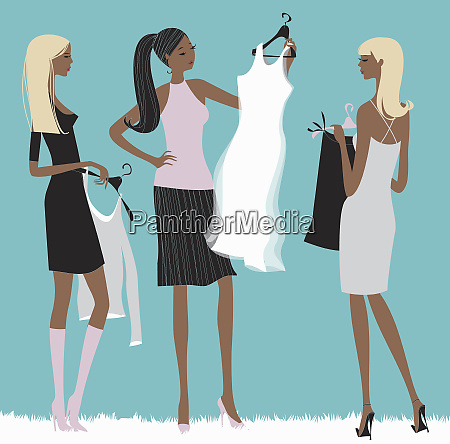 women shopping for clothes together