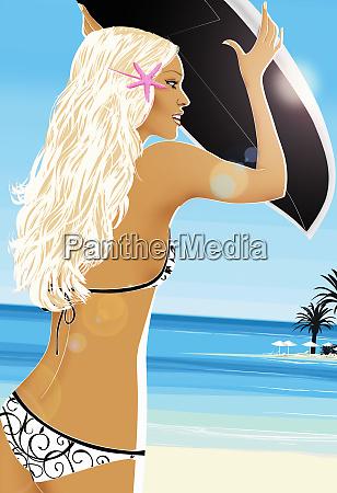 woman in bikini carrying surfboard on