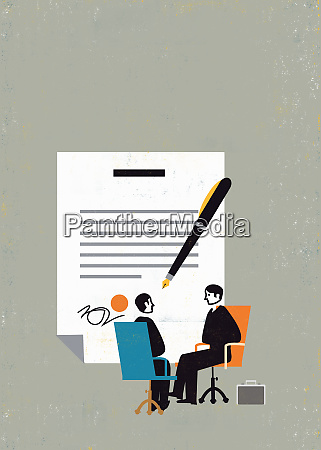 large pen and contract behind businessmen