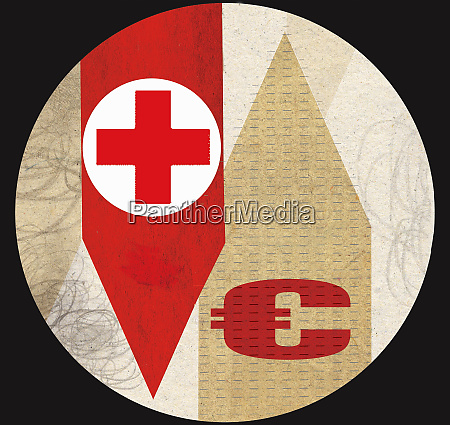 red cross with euro symbol on