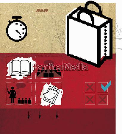 shopping bag books and check lists