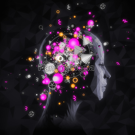 colorful shapes emerging from womans head