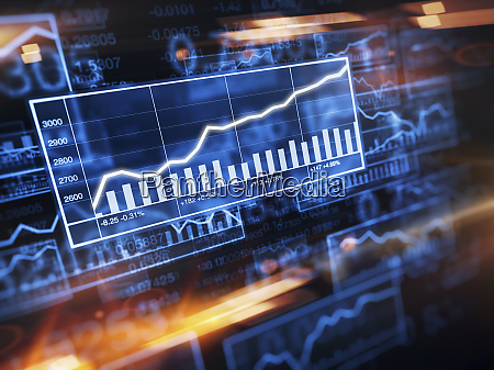increasing line graph on stock market