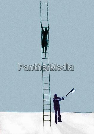 businessman with axe chopping ladder businesswoman