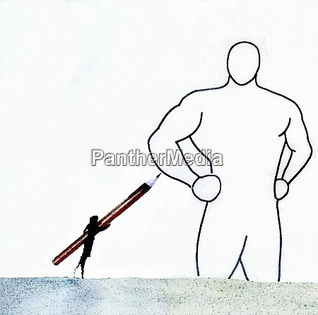 businesswoman drawing outline of strong man