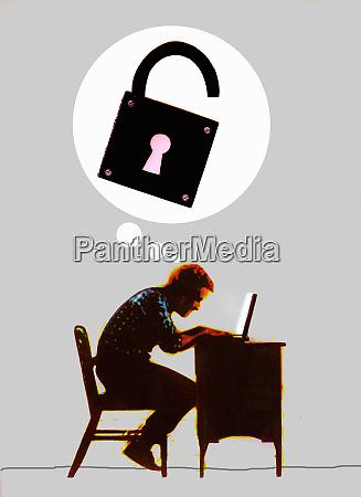 man hacking laptop