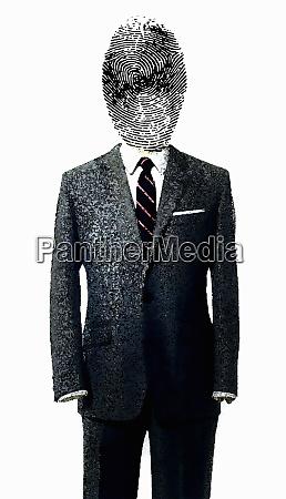 fingerprint covering businessmans face