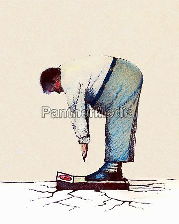 ground cracking under obese man bending