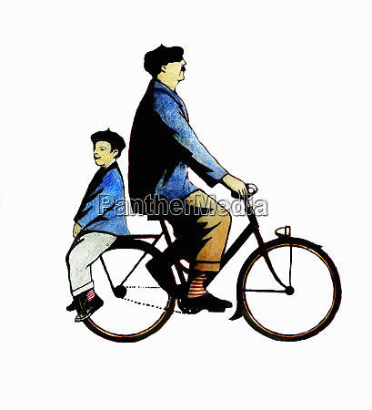 father and son riding bicycle back