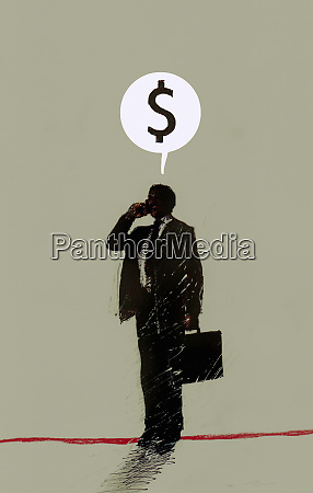 dollar sign in speech bubble above