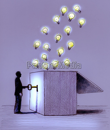 man unlocking illuminated light bulbs from