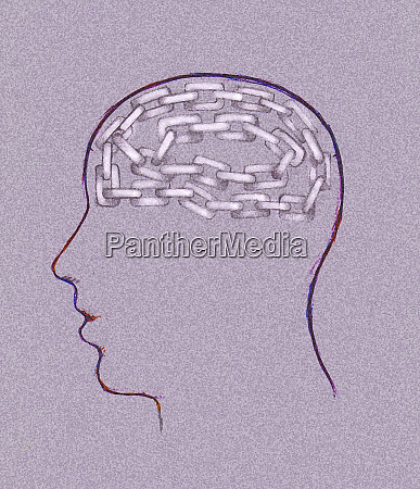 linked chain inside mans head