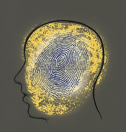 fingerprint inside mans head