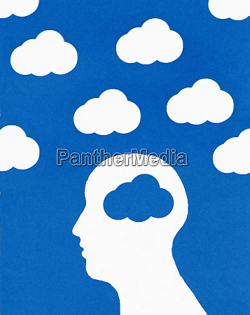 cloud pattern and mans head with