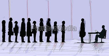 business people standing in interview queue