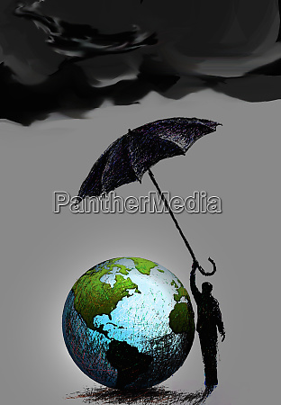 dark clouds over businessman protecting globe