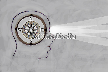 compass inside of outline profile of