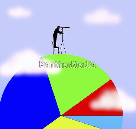 man looking through telescope standing on