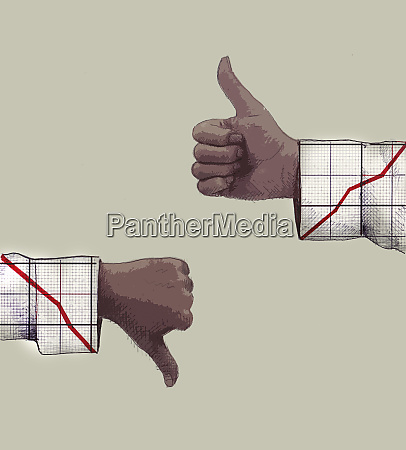 opposite graphs with thumbs up growth