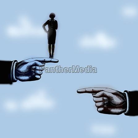 businesswoman choosing between two supporting hands