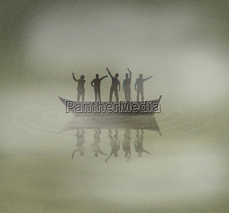 people on boat lost in fog