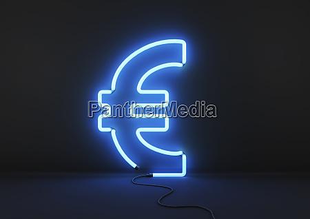 neon blue euro sign on black