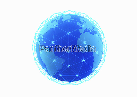 blue network grid covering globe