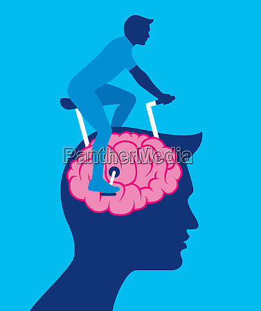 man exercising brain riding exercise bike