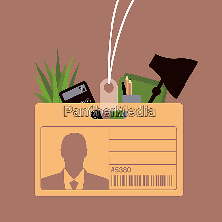 name tag cardboard box containing possessions
