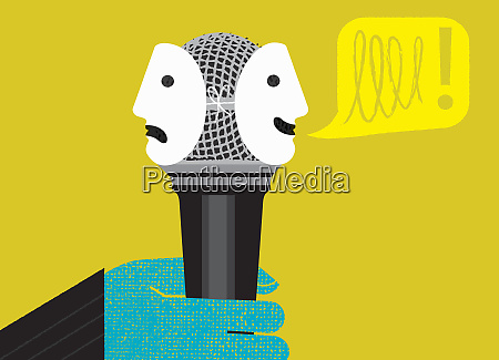 hand holding microphone with happy and