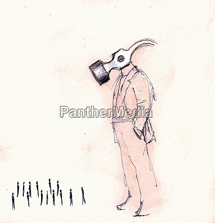 large businessman with hammer head looking