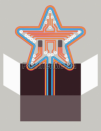 circuit board star emerging from box