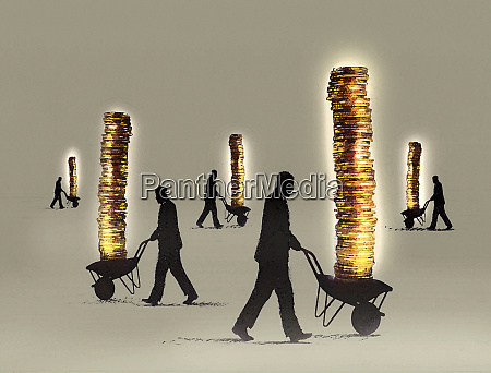 businessmen pushing piles of money in
