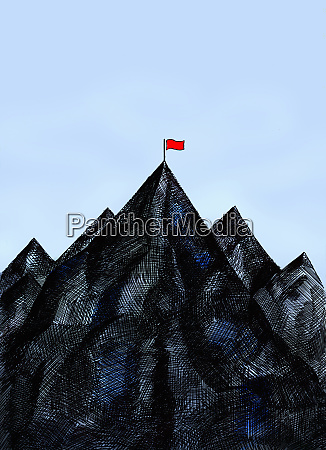 red flag on mountain summit