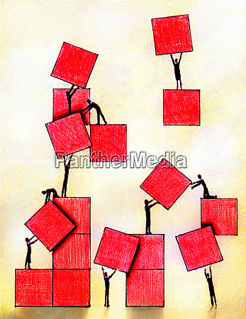 business people working together moving red