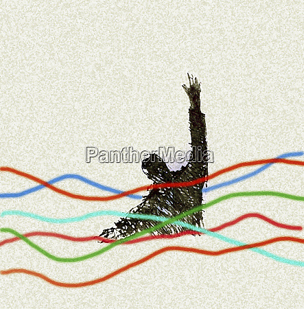 businessman drowning in multicolored line graph