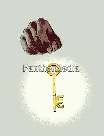hand holding euro symbol key