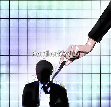 businesswoman pulling tie of businessman