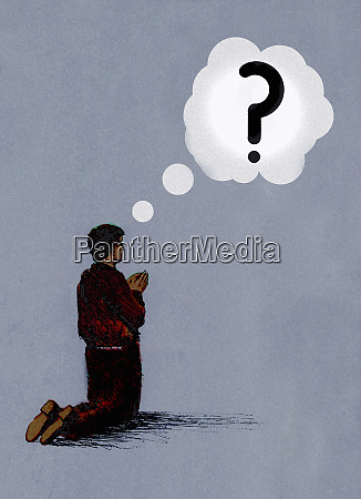 man kneeling praying with question mark