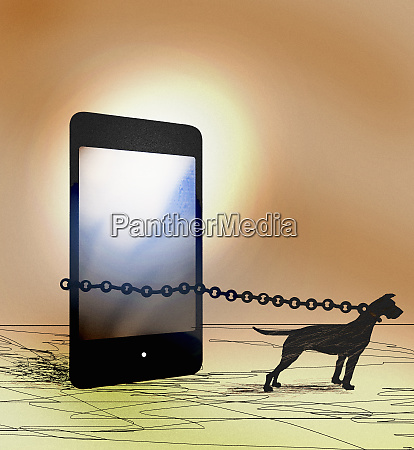 guard dog chained to smart phone