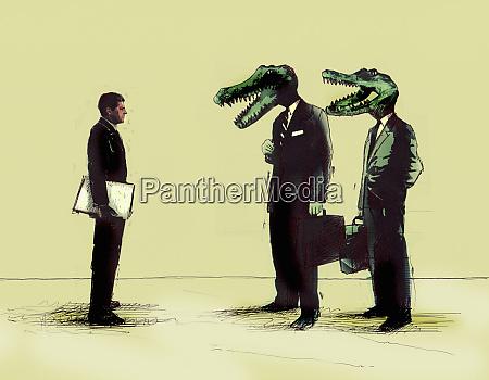 businessman, meeting, businessmen, with, crocodile, heads - 26007811