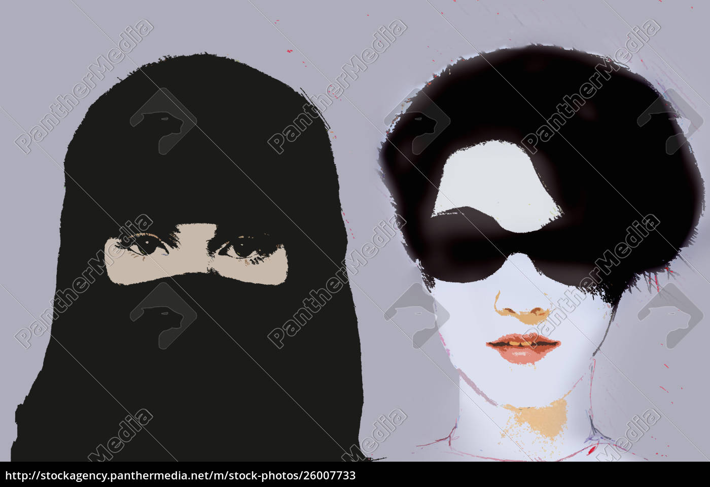 muslim, woman, wearing, niqab, next, to - 26007733