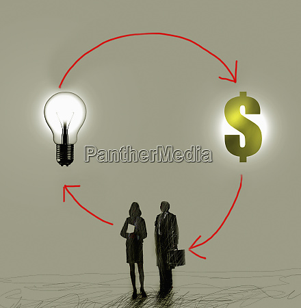 businessman and businesswoman brainstorming ideas for