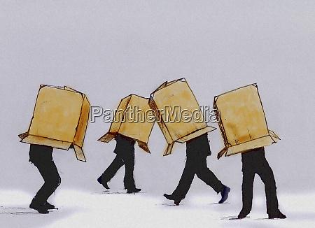 businessmen walking cardboard box covering head