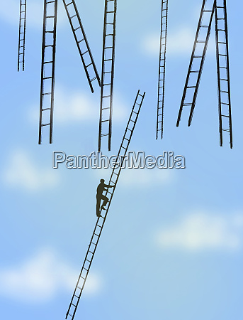 man climbing ladder towards lots of