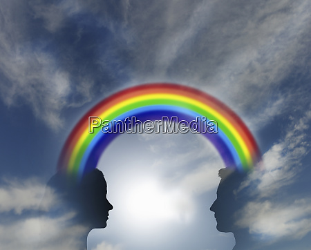 bright rainbow connecting man and woman