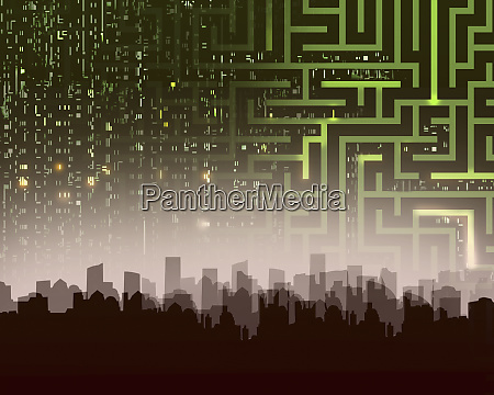 maze and computer coding over city